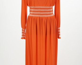 Vintage 1960s Julie Miller California Orange Dress Size M