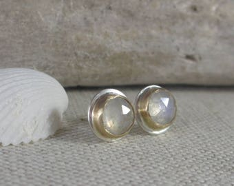 Modern Post Earrings * 14K Gold and Sterling Silver with Moonstone * Simple Classic Cabochon Studs Oxidized Turquoise, Lapis, Labradorite