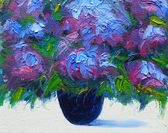 "Blue Hydrangea Blooms - Oil Painting - 6 x 6"" Size - Flower Painting"