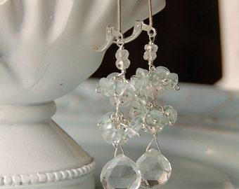 Gemstone Bridal Earrings, Semi Precious Dangle, Crystal Quartz Earrings, Clear Gemstone with Blue Topaz in Sterling Silver, Wedding Earring