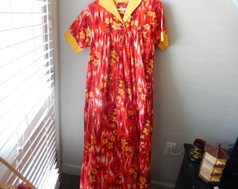 Polynesian Handmade Muu Muu Dress - Measurements Below