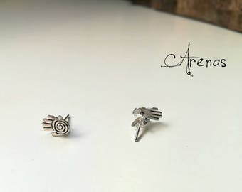 Stud Earrings Hands - Silver Earrings - Minimalist Earrings - Boho Stud - Silver Stud - Earrings - Sterling Silver Stud - Ethnic Earrings