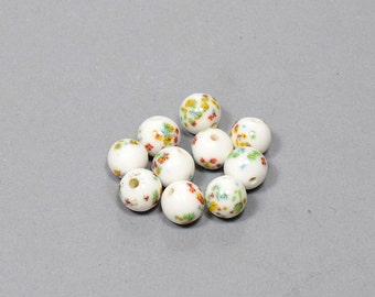 Beads. NOS. 12mm Vintage Beads, Millefiori White with Lime Green. Sold by 1 piece or 6 pieces.