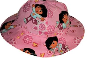 Girls Sun Hat, Dora Hat, Girls Birthday Gift, Summer Hat, Cotton Hat, Wide Brim Floppy Beach Hat, Toddler Sun Hat, Girls Summer Clothes