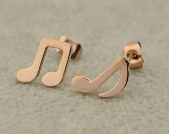 14k Solid Gold Music Notes Stud Earrings,Music Jewelry - ElenadE