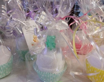 Washcloth Soap Cupcakes Baby Teddy Bears scented Lavender