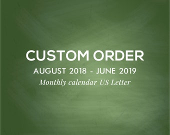 Monthly calendar 2018-2019, Academic year, Monthly Planner, US Letter