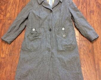 Vintage Retro Marlee Mid Century 60s 70s Gogo Mod Tweed Wool Housewife Princess Dress Swing Coat Womens Small / Medium