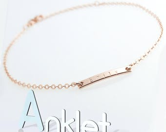 Hand stamped Customized Hand stamped Adorable Mini 16k Plated Name Bar Anklet/ Gold White Gold Rose Gold Plated / Wedding bridemaids