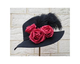 Men's Fedora Hat with feather's and roses - Bleeding Heart