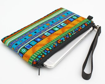 iPhone 8 Plus Clutch, Makeup Wallet Removable Wristlet Strap, Errand Runner, Galaxy S8 Purse -  blue bohemian stripes with gold accents