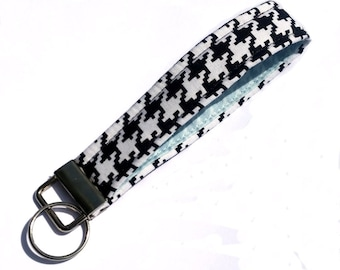 Key Lanyard - Key Fob - Fabric Key Ring -- Black and White Herringbone -- READY TO SHIP