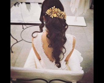 floral bridal headpiece, Gold wedding headpiece, Bridal Headband, Bridal Heirloom, Bridal Accessories, Bridal Hair Jewel, Bridal Jewelry