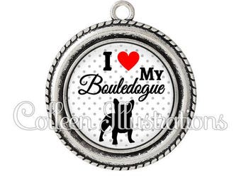 Pendant cabochons 25mm I Love my Bulldog dog - 8 series