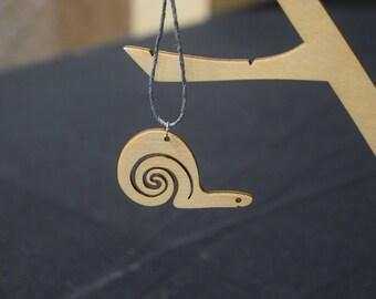 Snail - Laser Cut Wood Pendant