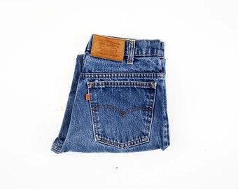 31 X 27 Vintage LEVI Orange Tab UNISEX Men's Women's Medium Wash High Waist Straight Leg Relaxed Fit Retro Denim Jeans