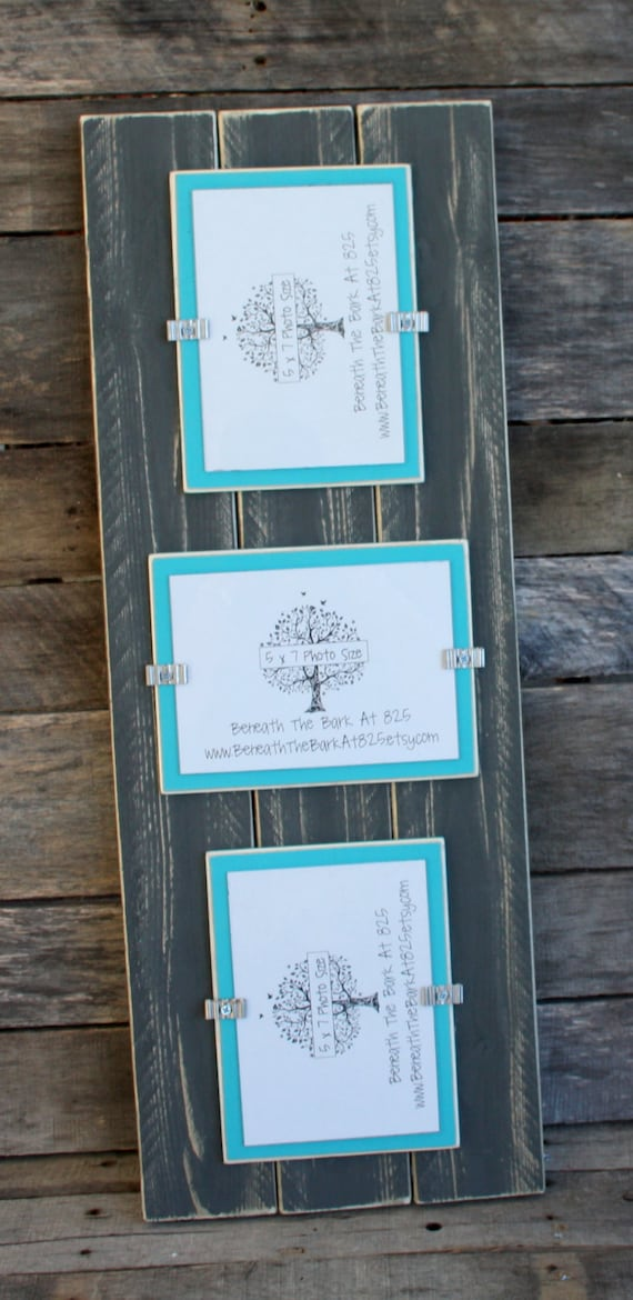 Picture Frame Triple 5x7 Distressed Wood Holds 3 5x7