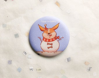 White Winter pin, 56mm badge, cute button, dog, welsh corgi, animal, nori, snow, weather, Christmas, kawaii