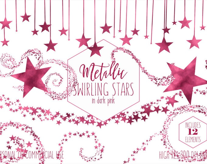 BURGUNDY STAR CLIPART for Commercial Use Clip Art for Kids Pink Night Sky Banner Celestial Bunting Frame Baby Girl Shower Digital Graphics