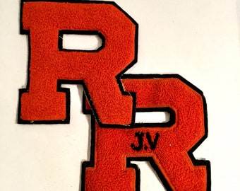 "Vintage Letterman Patches ""R"" college Red Letters, Pair, Ca: 1950s."