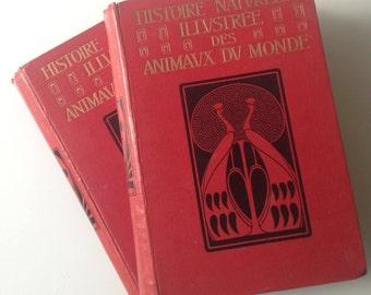 Antique book, Philippe Hettinger, Histoire naturelle illustrée des animaux du monde, 2 volumes, 1907, France