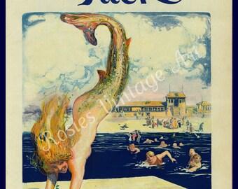 Mermaid Poster -  August 1910 - Cottage Decor - Summer Cottage Wall Art - Mermaid Poster - Diving Mermaid - Vintage Mermaid Art