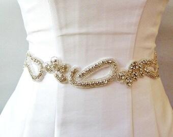 BRIDAL RHINESTONE SASH , Wedding Sash ,wedding Rhinestone sash , jeweled sash, Bridal crystal belt, jeweled Belt, bridal belt
