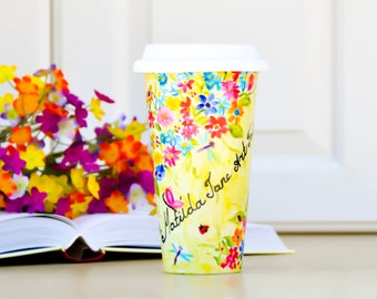 Personalized Spring Flowers Travel Mug - Made to Order Flower Eco-Cup - Garden flowers Coffee Cup - Romantic Gift - Mug with Lid