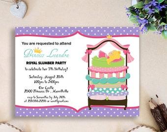 Princess Pea Slumber Party Invitation