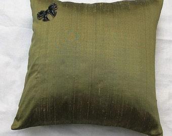 Olive green  silk cushion cover. Olive green dupioni silk  decorative pillow. Solid olive green throw pillow cover. 18inch
