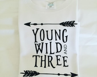 Toddler tee boy / 3T / young wild three /toddler boy / boy clothes