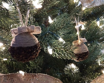 Natural Jute and Clove Ball Ornaments