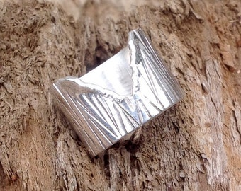 V ring with textured tooling Sterling silver