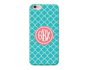 personalized phone case, personalised iPhone 8 case, monogrammed iPhone X case, monogram iPhone 6s plus case, iPhone 7 case cyan quatrefoil
