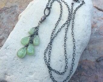 Green KYANITE Necklace, green Kyanite pendant, waterfall necklace, cluster, sterling silver, green gemstone briolette jewelry,
