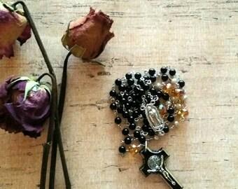 Catholic Rosary, Five Decade Rosary, Religious Rosary, Rosary, Black Beaded Rosary