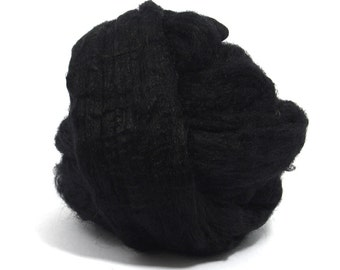 Raven (black) Tussah Silk Top / Roving - 100g / 3.5oz