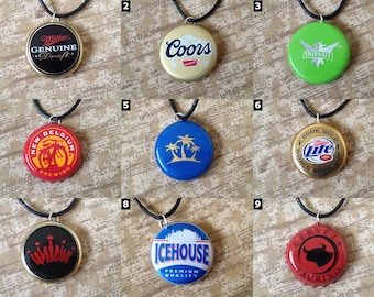 Bottle Cap / Bottle Top Necklaces - Coca Cola, Alcohol, Soft Drinks and more!