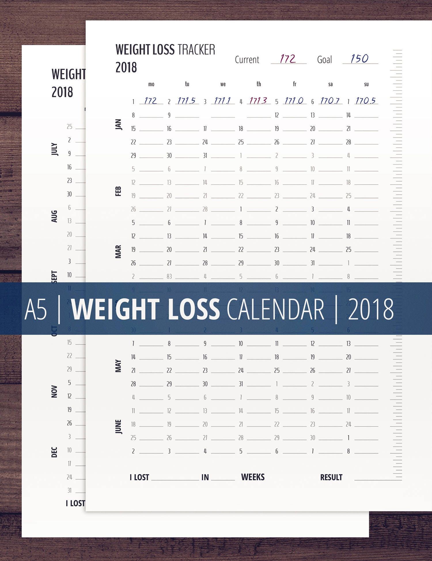 Weight loss tracker calendar 2018 a5 health planner inserts zoom geenschuldenfo Choice Image