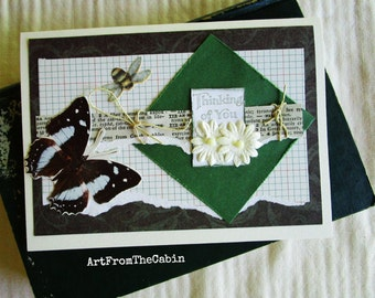Butterfly Thinking of You Card, Any Occasion, Green and White, Butterfly, Glittery Bee, White Flowers, Hemp Card, Layered Card, Blank Card