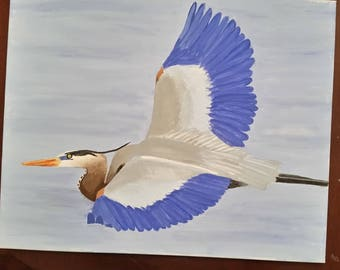 Great blue heron in flight painted canvas