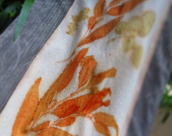 Botanical, natural, eco leaves printed table runner, dresser runner, table art,  hand painted wall art, wall hanging