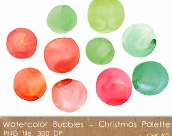 Christmas Clipart, Watercolor Splotches