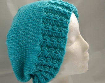 Slouchy Winter Hat, Turquoise, Slouchy Beanie, Cabled Tam, Adult Beanie, Knit Wool Hat, Warm Winter Hat, Gender Neutral, Ready to Ship
