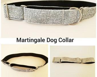 "Silver Bling Dog Collar - Silver Bling Martingale Dog Collar - Formal Dog Collar - Pet Collar in 1"" or 1.5"" width"