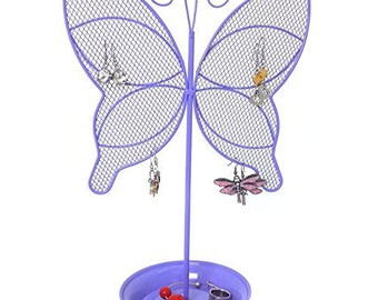 Cute Butterfly Jewelry Organizer Purple Earring Jewelry Stand Dresser Top Jewelry Organizer for Teens Earring Holder