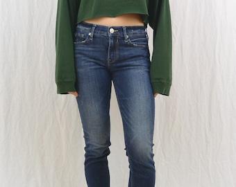 Vintage Striped Crop Top, Oversized, Size Medium-Large, Grunge, Y2K, Upcycled, OOAK, Tumblr Clothing, 90's Clothing