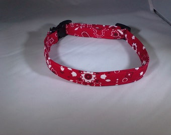 Dog Collar - Red Bandana with Flowers
