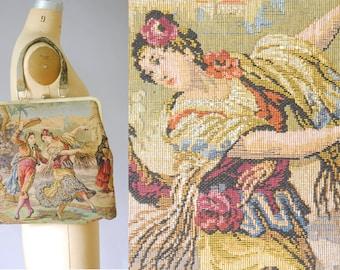 Marbella scenic tapestry handbag   vintage tapestry bag   60s handbag