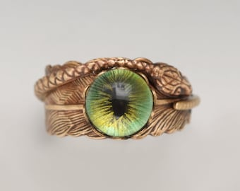 Snake Ring Men Snake Ring Women Snake Ring Green Evil Eye Ring Feather Ring